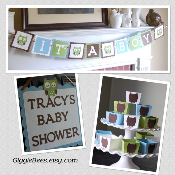 Owl baby shower package owl decorations it 39 s a boy for Baby shower decoration packages