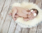 Baby Crochet Flower Headband, Ivory and Light Pink, Photo Prop, Elastic Headband, Girl Headband