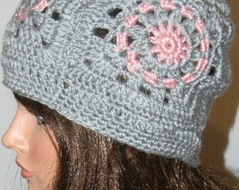 Grey and Pink Crocheted Hat