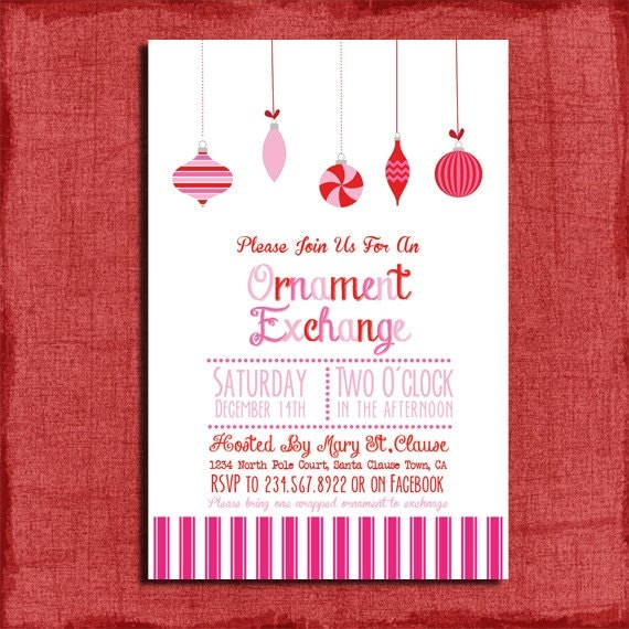 Printable Pink Holiday Ornament Exchange Party Invitation Diy