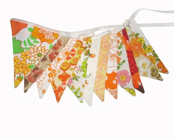 Vintage Bunting - Retro Orange MULTI Floral Flags. Shabby Chic, Party Decoration, Parties, Party, Wedding etc .  Made in Australia