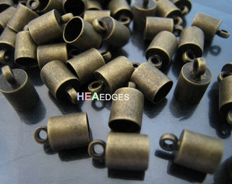 Finding - 10 pcs Antique Brass Leather Cord Ends Cap with Loop For Round Leathers 10mm x 6mm ( inside 5mm Diameter )
