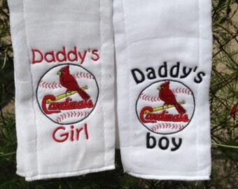 St Louis Cardinals personalized burp cloths or bib