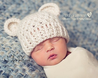 Crochet PATTERN - Bear Hat Crochet Pattern - Crochet Patterns for Babies - Crochet Hat Pattern - Includes 4 Sizes Newborn to Adult - PDF 203