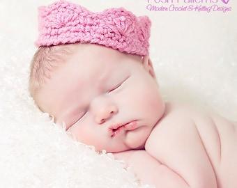 Crochet PATTERN - Crochet Crown Pattern - Tiara Crochet Pattern - Baby Girl Princess Costume - PDF 217 - 5 Sizes - Photo Prop Pattern