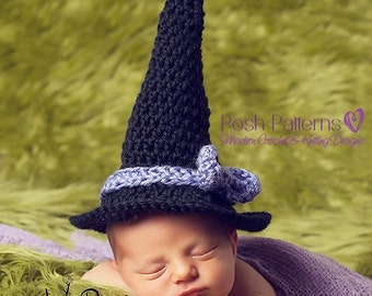 Crochet PATTERN - Baby Crochet Pattern - Newborn Baby Witch Hat - Crochet Patterns Baby - Halloween Hat - Photo Prop Pattern - PDF 201