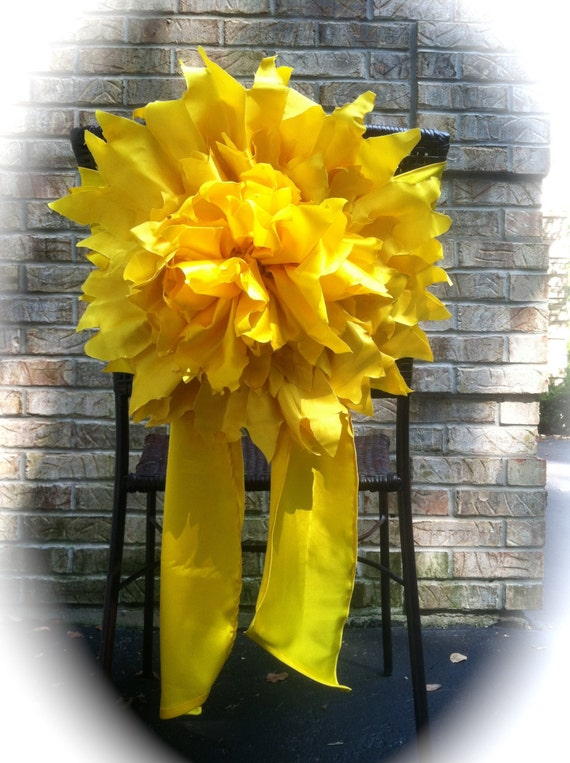 Yellow Wedding Chair Cover Flower Sash