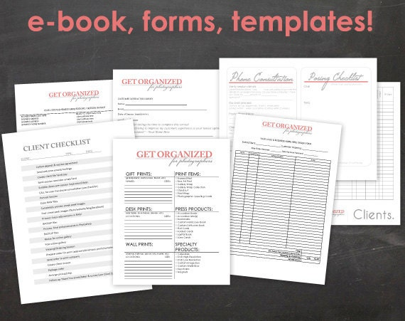 Get Organized FOR PHOTOGRAPHERS Photography Business Forms, E-book and Templates Contract with Model Release Catalog Template Tax Accounting Forms Order Form Pricing