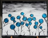 Gloomy Turquoise Field - Abstract - Textured Blooms - 16 x 20