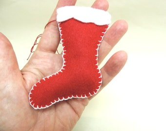 Christmas Ornament Red Felt Stocking with White Felt Cuff