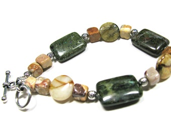 Earthy bracelet, Green Forest Jasper with Soocho Jade and  Agate, beaded bracelet, gemstones 200