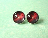 20 % OFF - Black Red Galaxy Cosmos Cabochon Stud Earrings,Earring Post,Cute Gift Idea