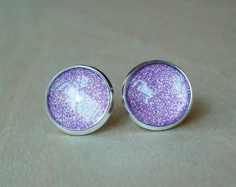 20% OFF --- Glittering light purple color Stud Earrings/Great for Party,beautiful gift for her