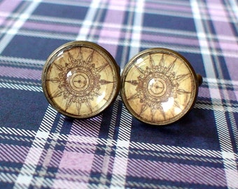 20% OFF -- 16 mm Vintage style Old compass Cuff Links ,Mens Accessories, Anchor Cuff links,Perfect Gift Idea