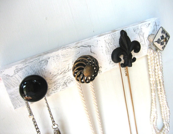 Jewelry Organizer / Necklace Display with Black and Brass Knobs
