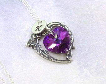 Personalized Amethyst Necklace, Victorian Heart Necklace, purple, Swarovski crystal, initial, fall fashion, amethyst heart, silver heart