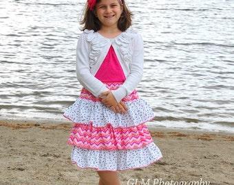 Amanda's Tweens Triple Ruffle Skirt PDF Sewing Pattern sizes 7/8 to 15/16