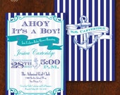 Nautical Baby Shower Invitation Double-sided Ahoy It's a Boy! Anchor Baby Boy Shower Printable 5x7 Sailor Baby Shower