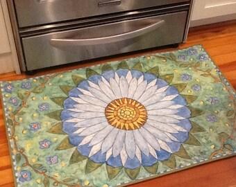 Daisy and blue flower floorcloth 2 x 3 rug