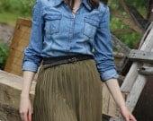 Khaki Colored Skirt / Black Elastic Waist Plisse Skirt / Casual Style Handmade Skirt / fit for S and M sized Women