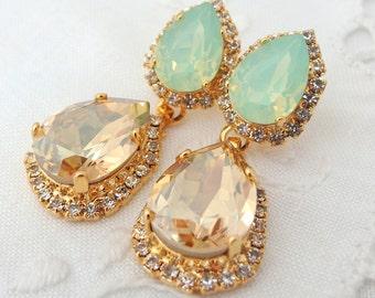 Champagne and mint opal Chandelier earrings, 14k Gold earrings, Bridal earrings, Dangle earrings, Drop earrings, Rhinestone  earrings