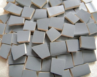 Ash Gray - Solid Color Mosaic Tiles - Recycled Plates - 100 Tiles