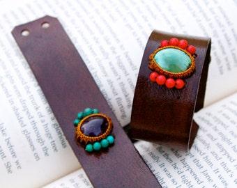 CUSTOM Leather Cuff Bracelet (Pictured: Turquoise/coral and Ametrine/turquoise Macrame Semi Precious Stone Bracelet - Sleek Style