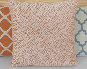 Orange coral confetti polka dot decorative throw pillow cover