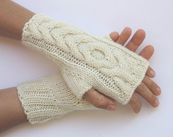 hand knit cream ivory arm warmers cabled mittens fingerless gloves winter christmas gift wool wrist warmers