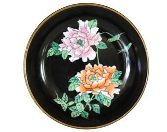 Vintage Brass Encased Ceramic Black Floral Dish