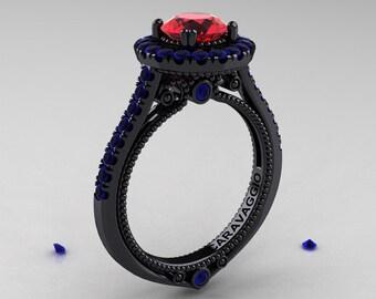Caravaggio 14K Black Gold 1.0 Ct Ruby Blue Sapphire Engagement Ring, Wedding Ring R621-14KBGBSR