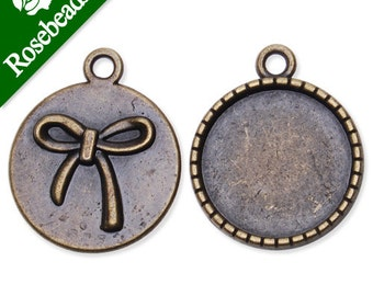 100PCS Antique Bronze Plated Pendant trays for 18mm Cabochon with bowknot at Other Side C1928