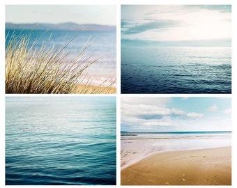 nautical decor ocean photography print set abstract water photography coastal prints 8x8 8x10 8x12 teal wall art aqua teal blue navy sand