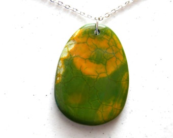 OOAK Green and Yellow Pendant Necklace