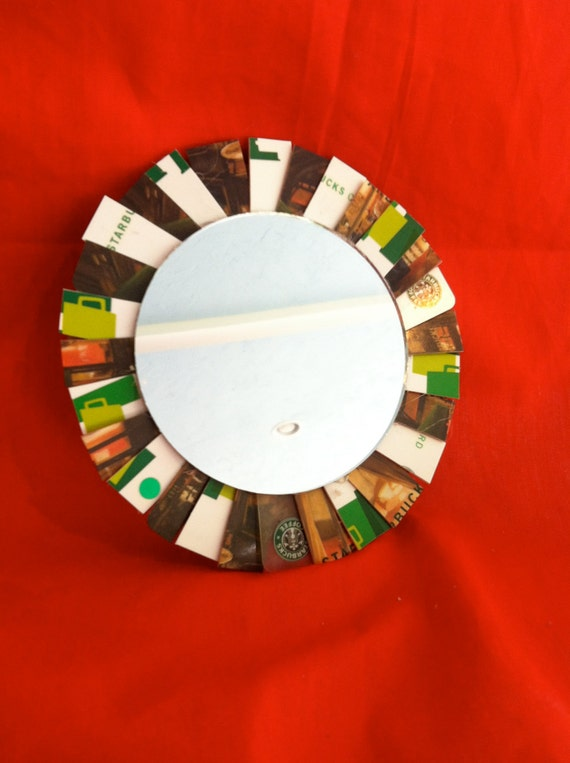 Magnetic Mirror for Refrigerator or Locker from Recycled Upcycled Starbucks Gift Cards