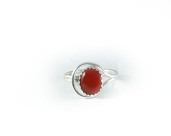 Sterling Silver Simple Carnelian Red Agate  Ring, size 8.5 to 9