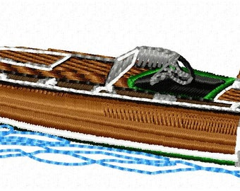 Wood Boat Embroidery Design - Instant Download