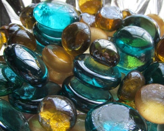 Teal/Gold/Amber Rich Jewel Tones Gems, Nuggets, Glass/Cabochons 50 ct.- Mosaic Tiles