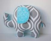 Modern elephant pillow, Geometric, grey gray aqua turquoise nursery, baby shower gift