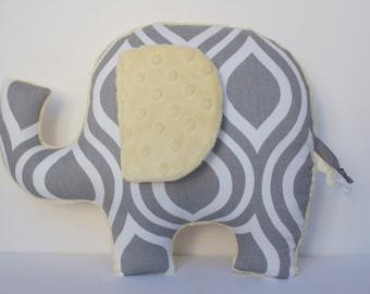 Modern elephant pillow, Geometric, grey gray yellow nursery, baby shower gift
