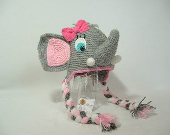 Adorable Elephant Hat Blue Eyes Pink Bow  Photo Prop Girl/ Boy ( different colors )