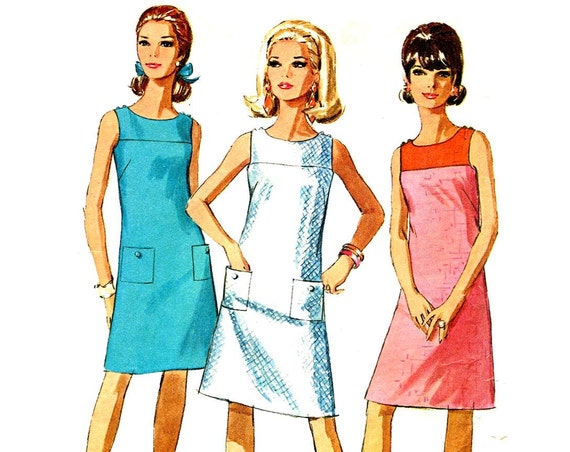 Vintage 1960 S Mod Easy A Line Sleeveless Dress Sewing