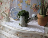 Distressed Potted Blue Watering Can for Dollhouse/Fairy