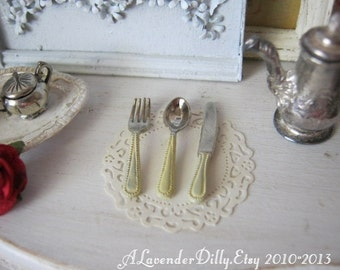 Cream Handled Cutlery for Dollhouse