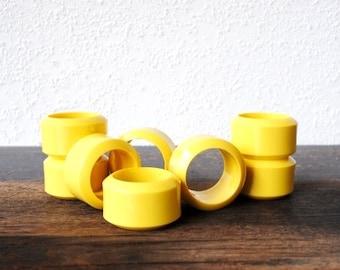 Mid Modern Yellow Panton Napkin Rings, Retro Thick Plastic Era Table Decor, Set of Four (4)