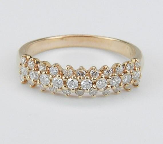 Diamond Anniversary Ring Wedding Band Brilliant 14K Pink Rose Gold Size 7.25