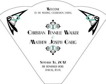 SET OF 25+ Art Deco Design Wedding Fan custom colors available