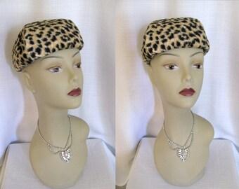 Vintage 1960s Hat - Capadors Leopard Faux Fur Hat