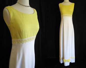 Vintage 1960s Maxi Dress - White and Yellow Maxi Gown with Bows - Size S XS