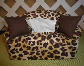 Leopard Print Tissue Box Cover in Sofa Shape Tan and Brown / Tissue Cover / Table & Seattle Seahawks Tissue Box Cover in Sofa Shape Blue Green Aboutintivar.Com
